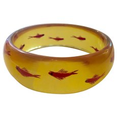 1930s Art Deco Apple Juice Reverse Carved and Painted Bakelite FISH Bangle Bracelet