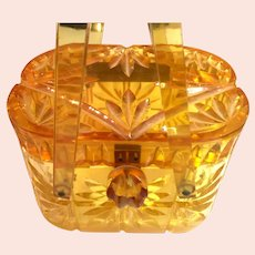 1950s Stained and Carved Amber Lucite Hard Body Plastic Purse Handbag Carved Acrylic Detail and Handle