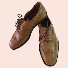 Dries Van Noten Ladies Size 39 Italian Dark Cream Wingtip Lace-up Shoe