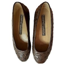 1980s Maud Frizon Brown Ostrich Leather Flats Shoes