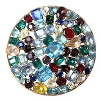 1950s  Czechoslovakian Multicolored Variably Sized Rhinestone and Crystal Brooch Pin