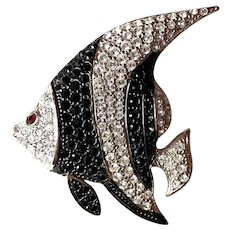 Rhodium Plated Silvertone Rhinestone Angelfish Brooch Pin