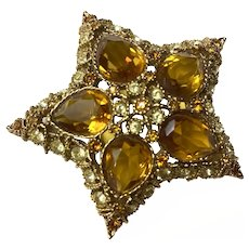 1980s KJL Kenneth Jay Lane Amber and Frost Yellow Filigree Brass Goldtone STAR Brooch Pin