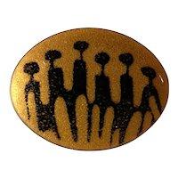 1960s DePassile Sylvestre Oval Enameled Goldtone Modernist Brooch Pin