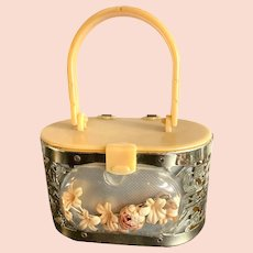 1950s Child's Hardbody Plastic and Metal Purse Handbag with Flower Coffin Front Little Kiddle Style