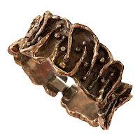 1960s Robert Larin Canadian Modernist  Brutalist Plated Pewter Hinged Bracelet