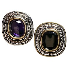 1980s Silvertone and Faux Amethyst Braided Edged Clip Earrings
