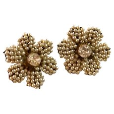 1950s Miriam Haskell Baroque Pearl and Rhinestone Flower Clip Earrings