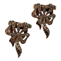 Pair Silver Marcusite Dress Clips