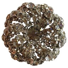 1950s French Roger Jean Pierre Smoke THICK Circular Domed Diamante Brooch Pin