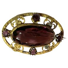 Edwardian Early 20th Century Brass and Amethyst Crystal Oval Brooch Pin
