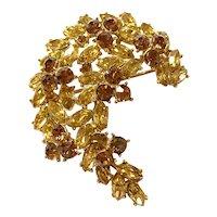 1950s TRIFARI  Goldtone Amber and Brown Diamante Stonework Crescent Brooch Pin