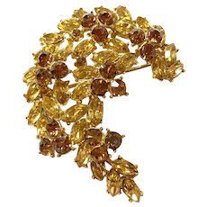 1950s TRIFARI  Goldtone Amber and Brown Diamante Stonework Crescent Brooch Pin