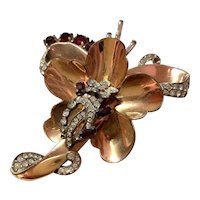 1940s Retro Modern Rose Gold Plated Sterling Faux Ruby and White Diamante Stylized Floral Brooch Pin