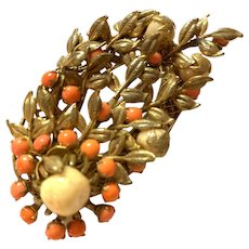 1950s  Miriam Haskell Filigreed Goldtone and Faux Coral Embellished Flower with Leaves Brooch Pin