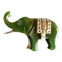 1930s Green Bakelite and Chrome Elephant Brooch Pin