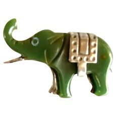 1930s Green Bakelite and Chrome Elephant Brooch Pin