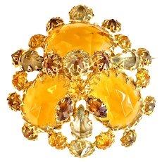 1950s Verified Schreiner Honey Gold Amber and Smoke Rhinestone Domed Brooch Pin
