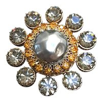 1960s Vendome Gray Pearl Smoke Faux Diamond and Amber Rhinestone Brooch Pin