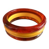 1930s Art Deco Bakelite Root Beer and Cream Three Layered Chunky Bangle Bracelet