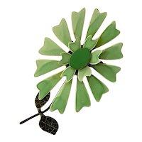 1960s POP Plasticized Metal Flower Power Pin Brooch in Green