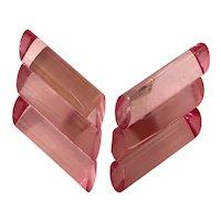 Judith Hendler Acri Gems Translucent Pink tri-lobed diagonal Rectangular Clip Back Earring