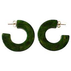 1930s Green Marbelized Bakelite Hoop Pierced Earrings