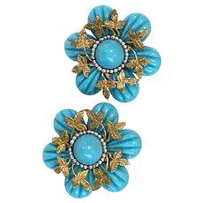1960s William DeLillo Magnificent Faux Turquoise and Goldtone Flower Large Clip Earrings