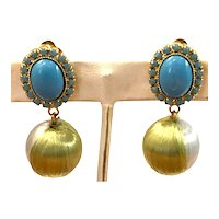 William DeLillo 1960s Faux Turquoise Goldtone Clip Earrings with Multicolor Blue Green Ribbon Ball Drops