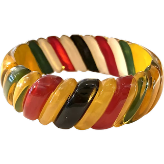 1930s Apple Juice BAKELITE Reverse Carved and Painted Geometric Brilliantly Striped Bangle Bracelet