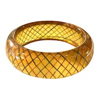 1930s Apple Juice BAKELITE Reverse Carved and Painted Geometric Cross Hatched Multicolor Bangle Bracelet