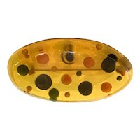 1930s Apple Juice BAKELITE Reverse Carved and Painted Wonder Bread Multicolor Dot Brooch Pin