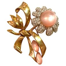 1940s Retro Modern Pink Moonglow and White Diamante Flower Brooch Pin