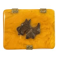 1930s Art Deco  Butterscotch Bakelite Wood Brass Hinged Lid Scotty Dog Cigarette Case
