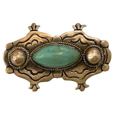 1940s Mexican Taxco Sterling Silver and Turquoise Brooch Pin by Artemio Navarette