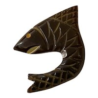 1930s Brown-Black Bakelite Figural Fish Shark Sew on Button