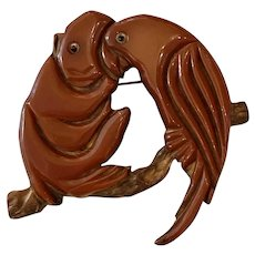 Rare and Exotic 1930s Brown Bakelite on Wood Monkey and Parrot Jungle Themed Pin Brooch