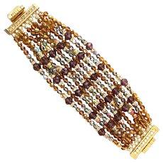 1960s William DeLillo Magnificent Multistrand Italian Glass Borealis Bracelet