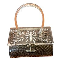 1950s Hardbody Acetate Plastic Purse Laminated Lace Acetate Carved Acrylic Top Handle