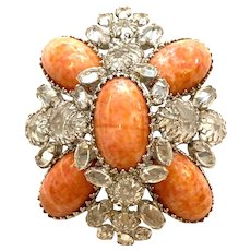 RARE Schreiner New York Coral Mottled Art Oval Stone Clear Crystal White Diamante Brooch Pin Pendant