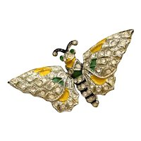 1940s Enamel and White Metal Trembling Wing Butterfly Brooch Pin
