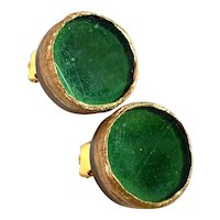 Line Vautrin Talosel Green Circular Clip Earrings