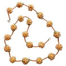 1960s Cased Sugar Bead Necklace Orange Green Enamel