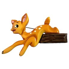 Martha Sleeper 1930s Resin Washed and Brightly Painted Bakelite Bambi Brooch Pin with Wood