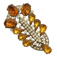 STARET 1940s Amber Rhinestone Clear Rounds White Metal Brooch Pin