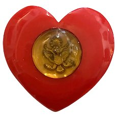 Very Rare 1940s Red Bakelite Patriotic US Army Insignia THICK Heart Pin Brooch