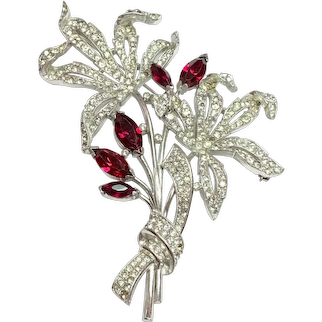 Rare Trifari Alfred Phillipe 1940s Rhodium Large Faux Diamante and Ruby Large Flower Brooch Pin