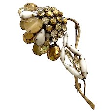 Lovely Schreiner New York Asymmetrical Floral White and Yellow Frost Brooch Pin