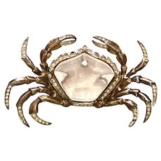 1940s Rare Trifari Sterling Jelly Belly Crab Brooch Pin Alfred Phillipe