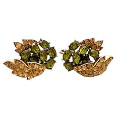 1950s TRIFARI Brushed Goldtone Chartreuse and Amber Stonework Clip Earrings